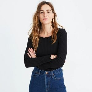 Madewell Ruffled Ribbed Top